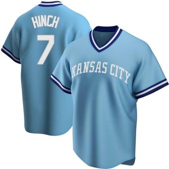 Men's A.j. Hinch Kansas City Light Blue Replica Road Cooperstown Collection Baseball Jersey (Unsigned No Brands/Logos)