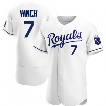 Men's A.j. Hinch Kansas City White Authentic Home Baseball Jersey (Unsigned No Brands/Logos)