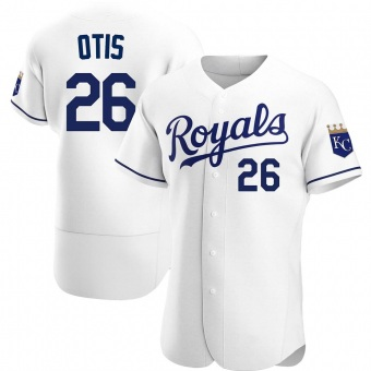 Men's Amos Otis Kansas City White Authentic Home Baseball Jersey (Unsigned No Brands/Logos)