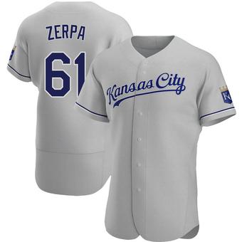 Men's Angel Zerpa Kansas City Gray Authentic Road Baseball Jersey (Unsigned No Brands/Logos)