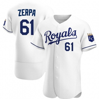 Men's Angel Zerpa Kansas City White Authentic Home Baseball Jersey (Unsigned No Brands/Logos)