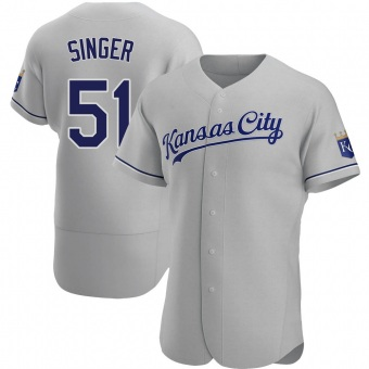 Men's Brady Singer Kansas City Gray Authentic Road Baseball Jersey (Unsigned No Brands/Logos)
