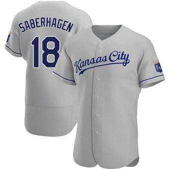 Men's Bret Saberhagen Kansas City Gray Authentic Road Baseball Jersey (Unsigned No Brands/Logos)