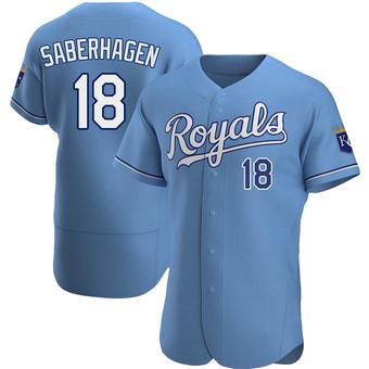 Men's Bret Saberhagen Kansas City Light Blue Authentic Alternate Baseball Jersey (Unsigned No Brands/Logos)