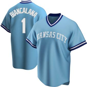 Men's Buddy Biancalana Kansas City Light Blue Replica Road Cooperstown Collection Baseball Jersey (Unsigned No Brands/Logos)