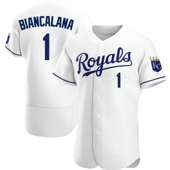Men's Buddy Biancalana Kansas City White Authentic Home Baseball Jersey (Unsigned No Brands/Logos)