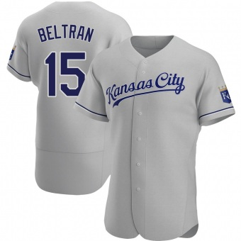Men's Carlos Beltran Kansas City Gray Authentic Road Baseball Jersey (Unsigned No Brands/Logos)