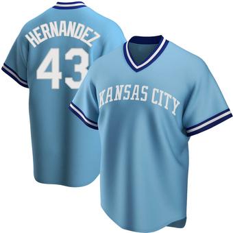 Men's Carlos Hernandez Kansas City Light Blue Replica Road Cooperstown Collection Baseball Jersey (Unsigned No Brands/Logos)