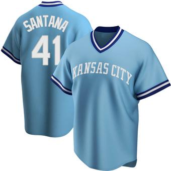 Men's Carlos Santana Kansas City Light Blue Replica Road Cooperstown Collection Baseball Jersey (Unsigned No Brands/Logos)