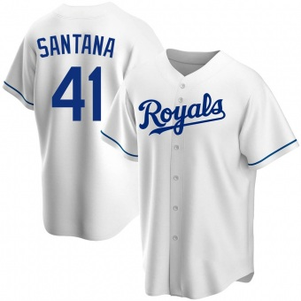 Men's Carlos Santana Kansas City White Replica Home Baseball Jersey (Unsigned No Brands/Logos)