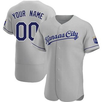 Men's Custom Kansas City Gray Authentic Road Baseball Jersey (Unsigned No Brands/Logos)