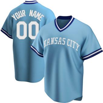 Men's Custom Kansas City Light Blue Replica Road Cooperstown Collection Baseball Jersey (Unsigned No Brands/Logos)