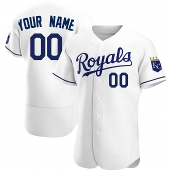 Men's Custom Kansas City White Authentic Home Baseball Jersey (Unsigned No Brands/Logos)