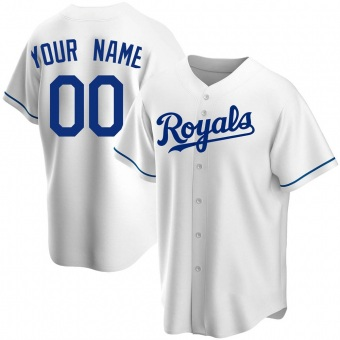 Men's Custom Kansas City White Replica Home Baseball Jersey (Unsigned No Brands/Logos)