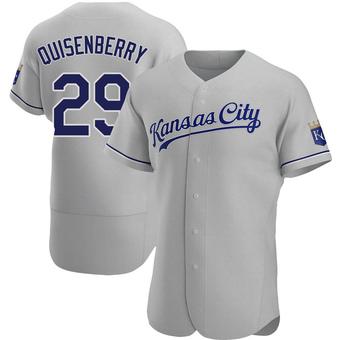 Men's Dan Quisenberry Kansas City Gray Authentic Road Baseball Jersey (Unsigned No Brands/Logos)