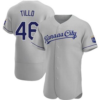 Men's Daniel Tillo Kansas City Gray Authentic Road Baseball Jersey (Unsigned No Brands/Logos)