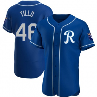 Men's Daniel Tillo Kansas City Royal Authentic Alternate Baseball Jersey (Unsigned No Brands/Logos)