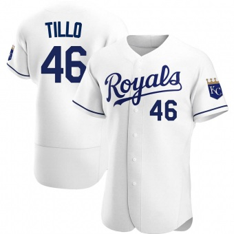 Men's Daniel Tillo Kansas City White Authentic Home Baseball Jersey (Unsigned No Brands/Logos)