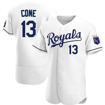 Men's David Cone Kansas City White Authentic Home Baseball Jersey (Unsigned No Brands/Logos)