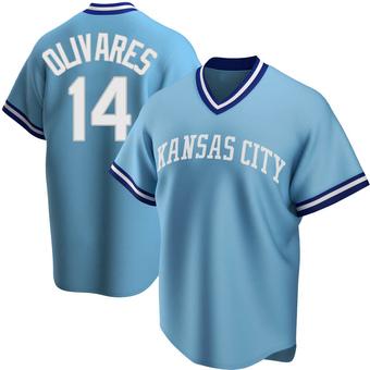 Men's Edward Olivares Kansas City Light Blue Replica Road Cooperstown Collection Baseball Jersey (Unsigned No Brands/Logos)