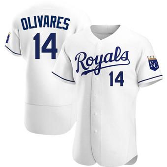 Men's Edward Olivares Kansas City White Authentic Home Baseball Jersey (Unsigned No Brands/Logos)