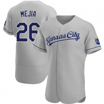 Men's Erick Mejia Kansas City Gray Authentic Road Baseball Jersey (Unsigned No Brands/Logos)