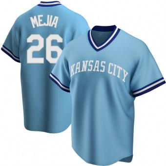 Men's Erick Mejia Kansas City Light Blue Replica Road Cooperstown Collection Baseball Jersey (Unsigned No Brands/Logos)