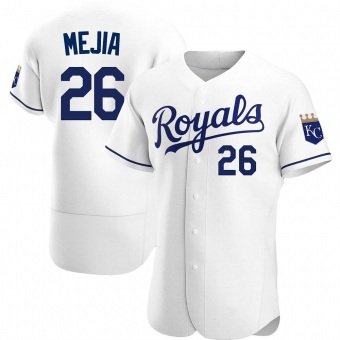 Men's Erick Mejia Kansas City White Authentic Home Baseball Jersey (Unsigned No Brands/Logos)
