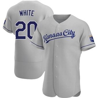 Men's Frank White Kansas City Gray Authentic Road Baseball Jersey (Unsigned No Brands/Logos)
