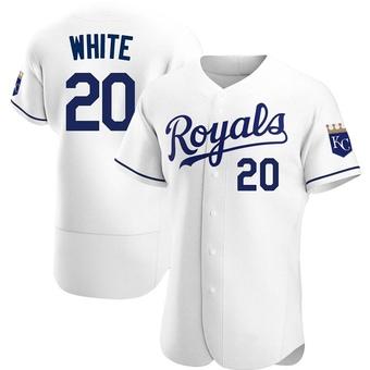 Men's Frank White Kansas City White Authentic Home Baseball Jersey (Unsigned No Brands/Logos)