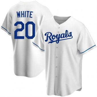 Men's Frank White Kansas City White Replica Home Baseball Jersey (Unsigned No Brands/Logos)