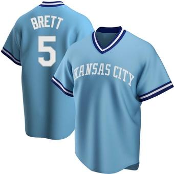 Men's George Brett Kansas City Light Blue Replica Road Cooperstown Collection Baseball Jersey (Unsigned No Brands/Logos)