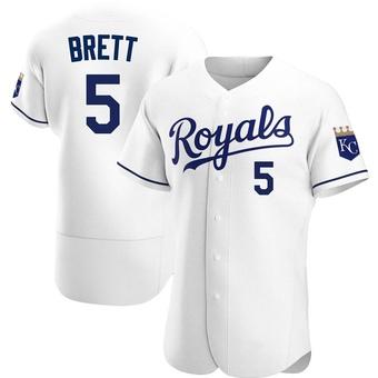 Men's George Brett Kansas City White Authentic Home Baseball Jersey (Unsigned No Brands/Logos)