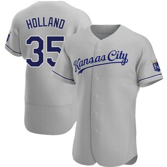 Men's Greg Holland Kansas City Gray Authentic Road Baseball Jersey (Unsigned No Brands/Logos)