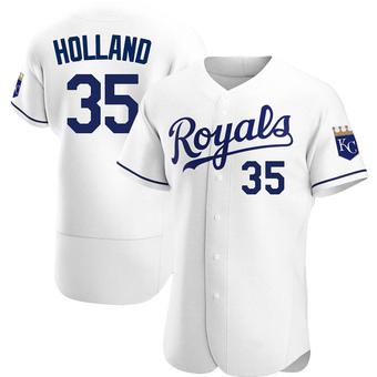 Men's Greg Holland Kansas City White Authentic Home Baseball Jersey (Unsigned No Brands/Logos)