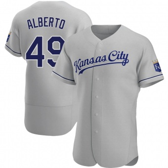 Men's Hanser Alberto Kansas City Gray Authentic Road Baseball Jersey (Unsigned No Brands/Logos)