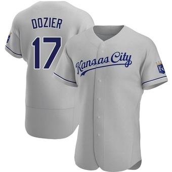 Men's Hunter Dozier Kansas City Gray Authentic Road Baseball Jersey (Unsigned No Brands/Logos)