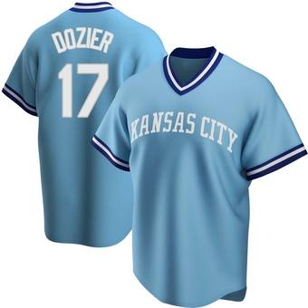 Men's Hunter Dozier Kansas City Light Blue Replica Road Cooperstown Collection Baseball Jersey (Unsigned No Brands/Logos)