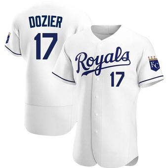 Men's Hunter Dozier Kansas City White Authentic Home Baseball Jersey (Unsigned No Brands/Logos)