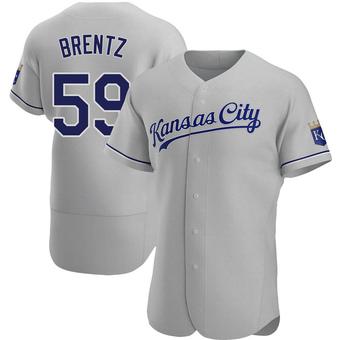 Men's Jake Brentz Kansas City Gray Authentic Road Baseball Jersey (Unsigned No Brands/Logos)