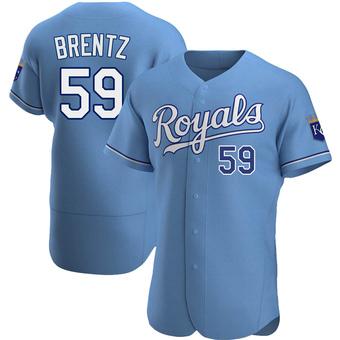 Men's Jake Brentz Kansas City Light Blue Authentic Alternate Baseball Jersey (Unsigned No Brands/Logos)