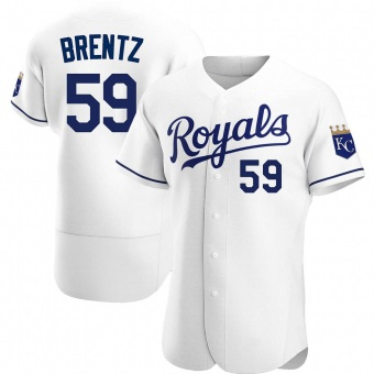 Men's Jake Brentz Kansas City White Authentic Home Baseball Jersey (Unsigned No Brands/Logos)