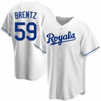 Men's Jake Brentz Kansas City White Replica Home Baseball Jersey (Unsigned No Brands/Logos)