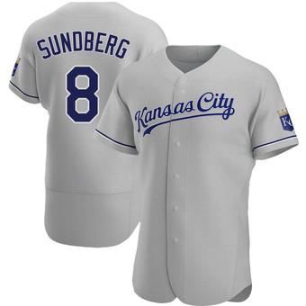 Men's Jim Sundberg Kansas City Gray Authentic Road Baseball Jersey (Unsigned No Brands/Logos)