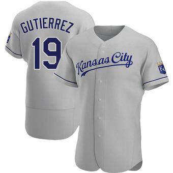 Men's Kelvin Gutierrez Kansas City Gray Authentic Road Baseball Jersey (Unsigned No Brands/Logos)