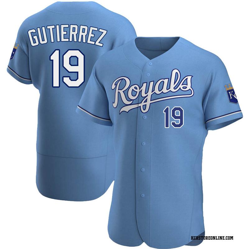 Men's Kelvin Gutierrez Kansas City Light Blue Authentic Alternate Baseball Jersey (Unsigned No Brands/Logos)