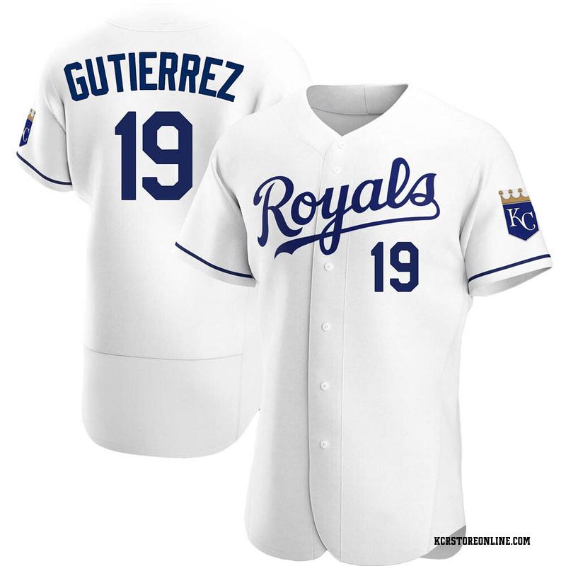 Men's Kelvin Gutierrez Kansas City White Authentic Home Baseball Jersey (Unsigned No Brands/Logos)