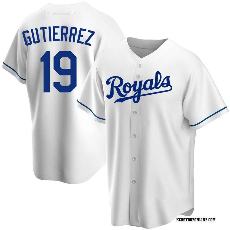 Men's Kelvin Gutierrez Kansas City White Replica Home Baseball Jersey (Unsigned No Brands/Logos)