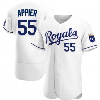 Men's Kevin Appier Kansas City White Authentic Home Baseball Jersey (Unsigned No Brands/Logos)
