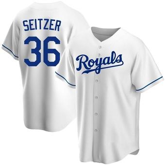 Men's Kevin Seitzer Kansas City White Replica Home Baseball Jersey (Unsigned No Brands/Logos)